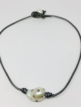 "Diamond Baroque Pearl and Leather Choker 16"""