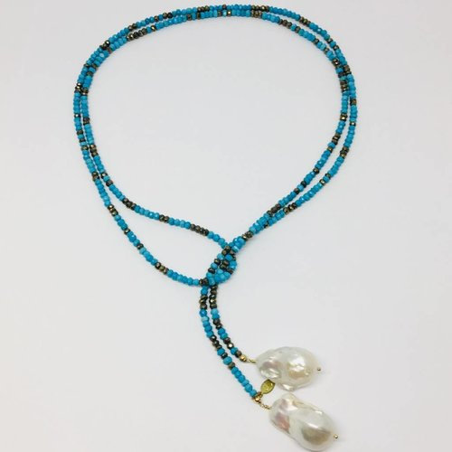 Joie DiGiovanni Turquoise and Pyrite Ombre Classic Gemstone Lariat