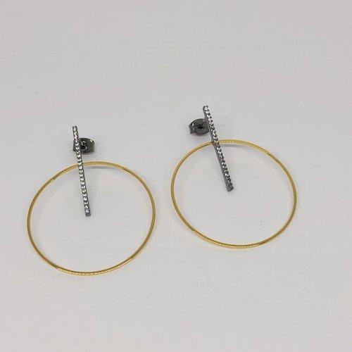 Tai Linear Pave Hoop Earrings
