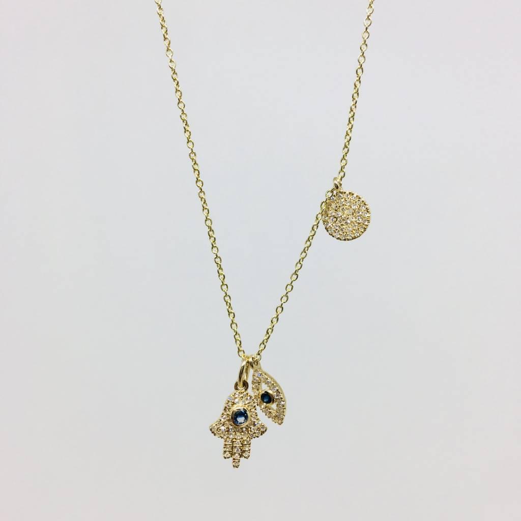 Lotasi Yellow Gold and Diamond Good Luck Necklace