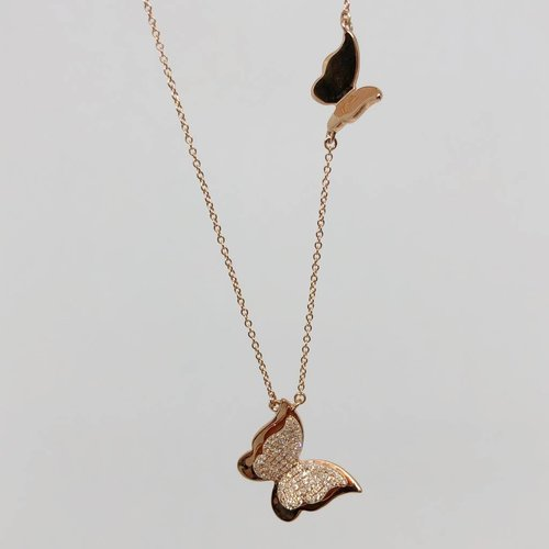 Lotasi Rose Gold and Diamond Butterfly Necklace