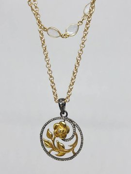 Kat Designs Flower Pendant and Stone Necklace