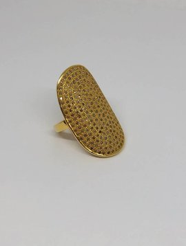 Lera Jewels Yellow Gold Pave Oval Ring