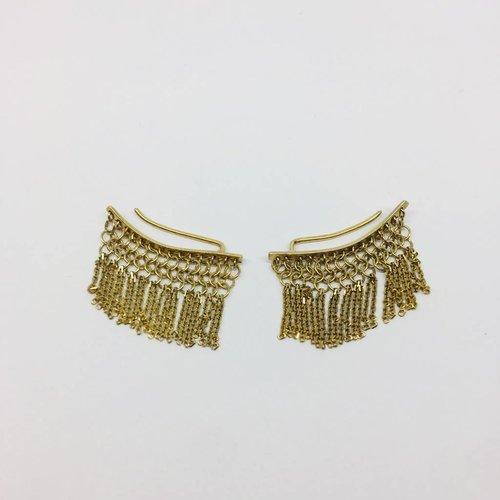 Marie-Laure Chamorel Gold Tassle Crawler Earrings