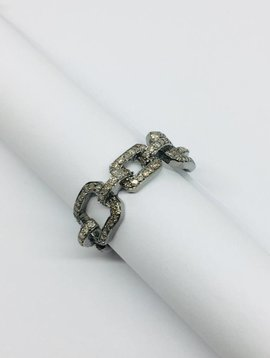 Lotasi Pave Diamond and Oxidized Silver Chain Ring