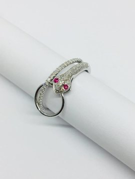 Lotasi White Gold and Pave Diamond Snake Ring