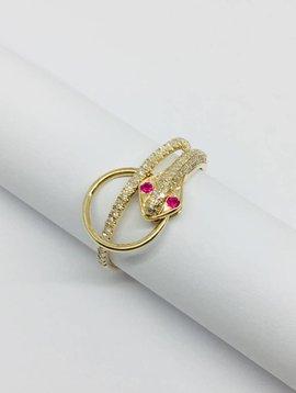 Lotasi Yellow Gold and Pave Diamond Snake Ring