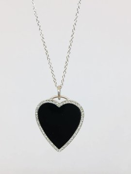 Jennifer Meyer Jennifer Meyer Onyx and White Gold Heart Necklace
