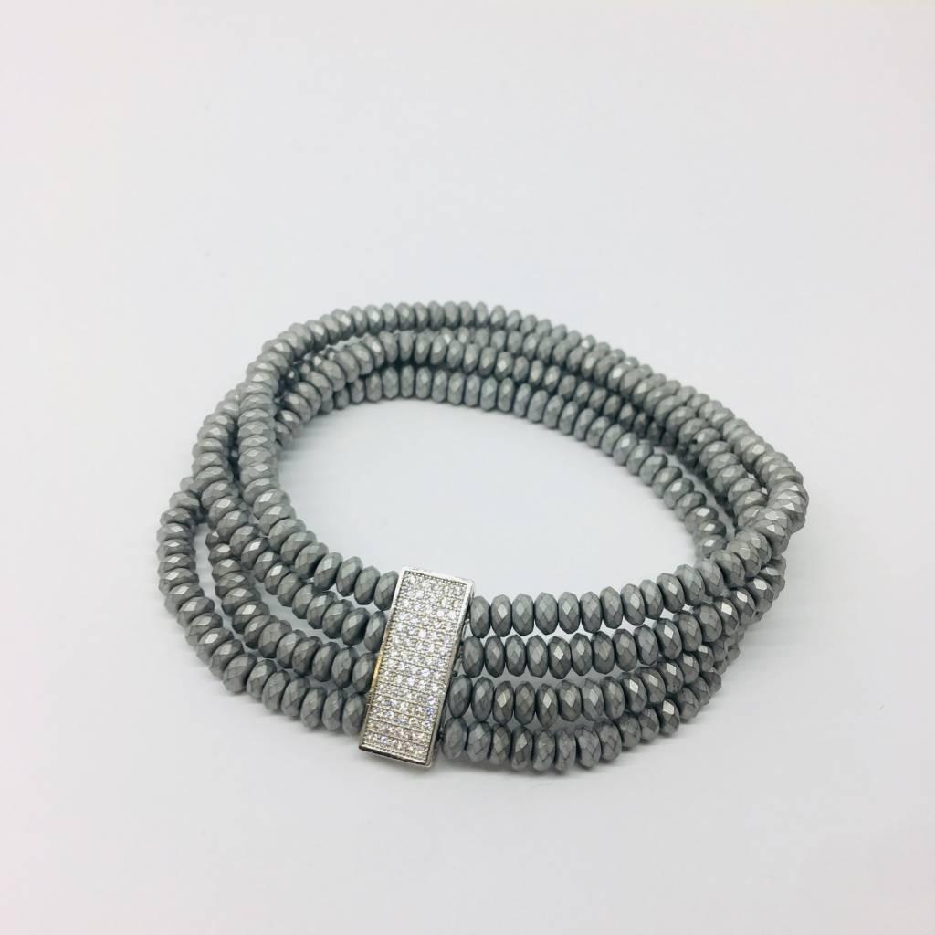 Kat Designs Pave Silver Bar Bracelet