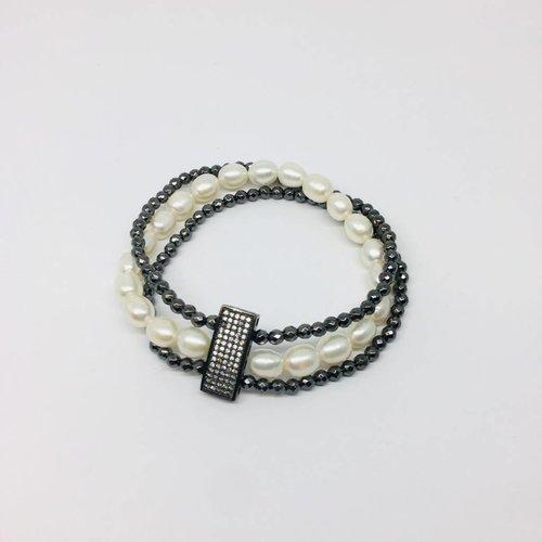 Kat Designs Pave Bar and Pearl Bracelet