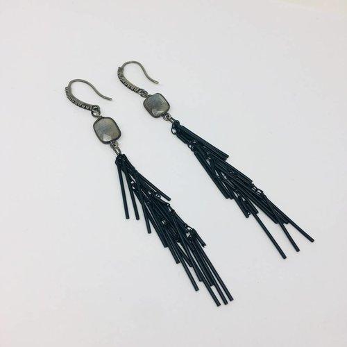 Kat Designs Black Labradorite Tassel Earrings