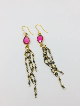 Kat Designs Pink Crystal Teardrop Earrings