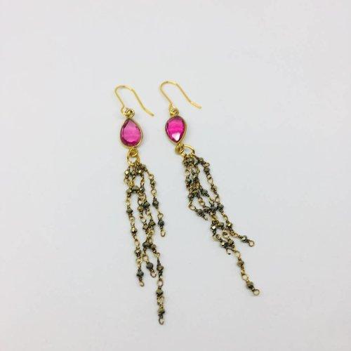 Kat Designs Pink Crystal Teardrop Earrings