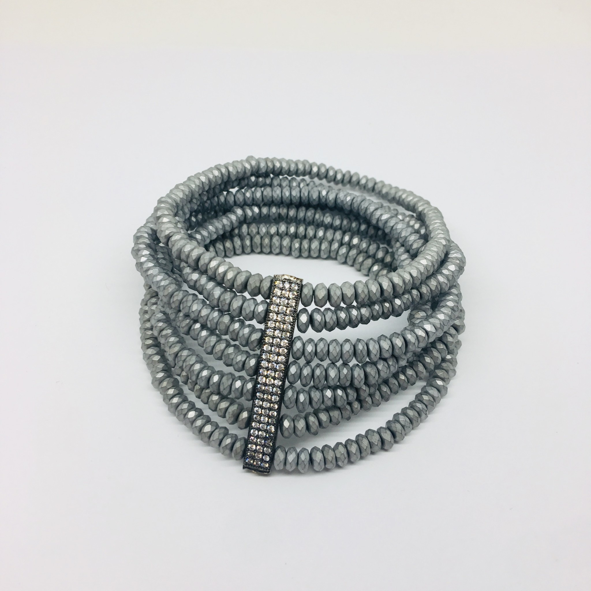 Kat Designs Hematite and Crystal Stretch Bracelet