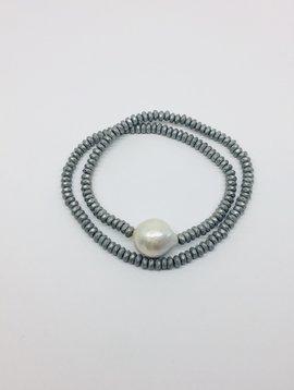 Kat Designs Pearl and Hematite Choker/Bracelet