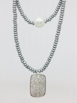 Kat Designs Double Front Pearl and ID Necklace