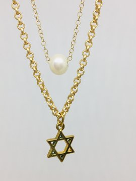 Kat Designs Star of David Double Front Pearl Choker