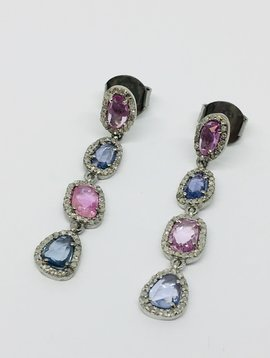 Lotasi Purple and Blue Sapphire Drop Earrings