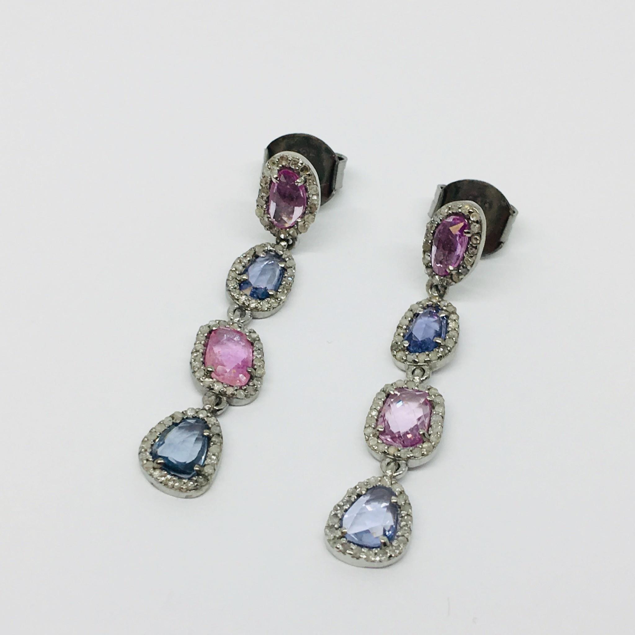 Lotasi Purple and Blue Sapphire Drop Earrings