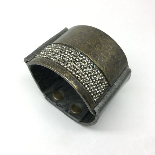 Rebel Design Grey Leather and Crystal Cuff