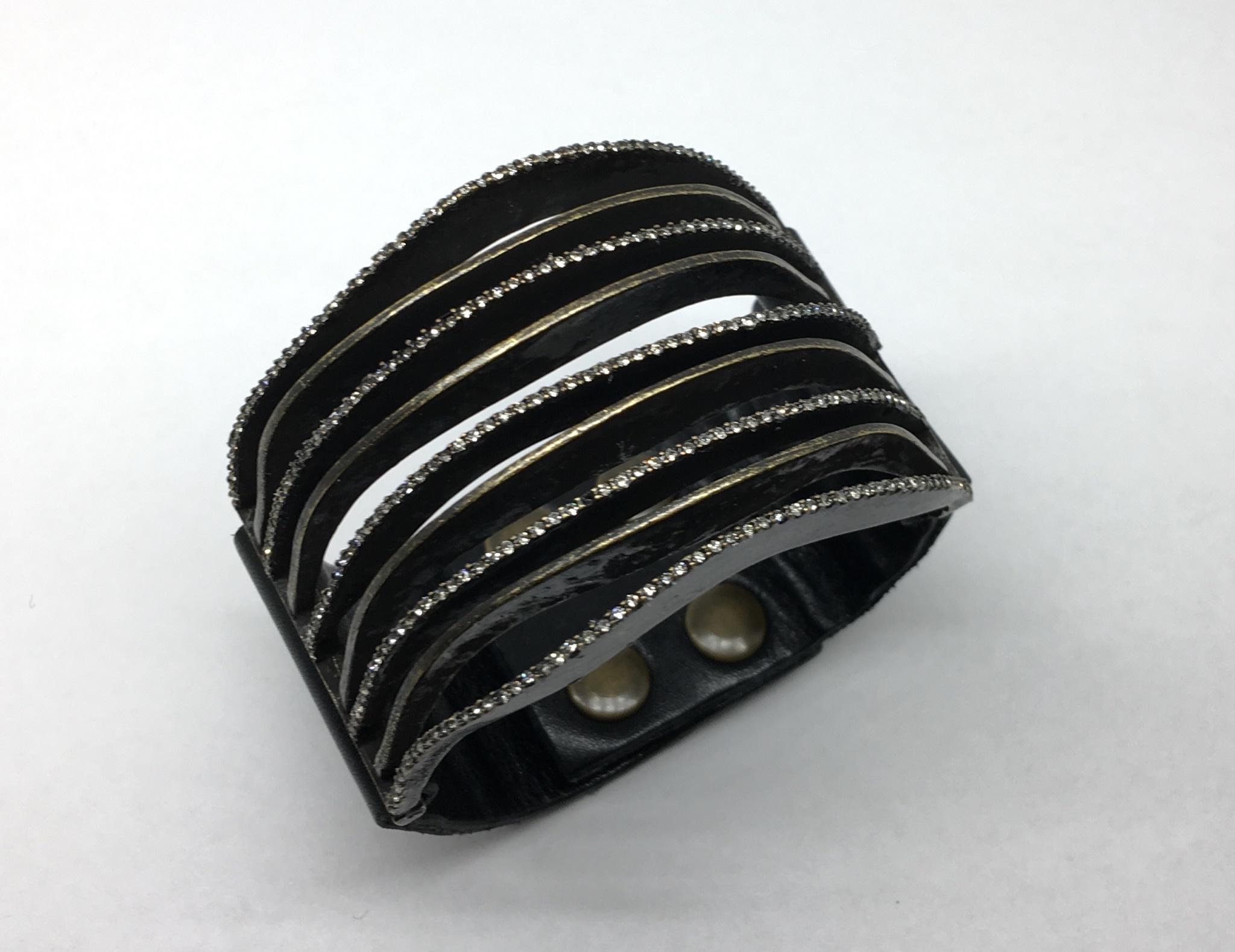 Rebel Design Black Leather Crystal Stacked Bracelet