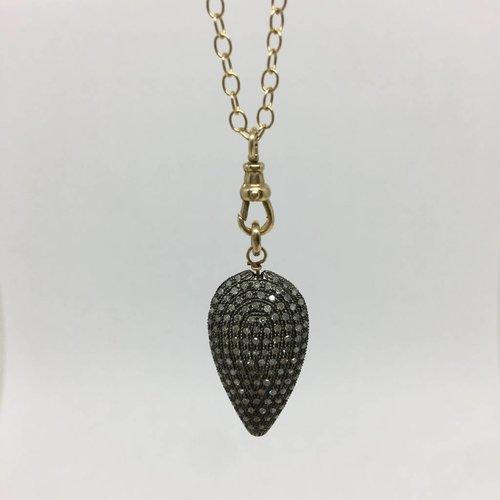 Lera Jewels Gold Chain necklace with Black Diamond charm