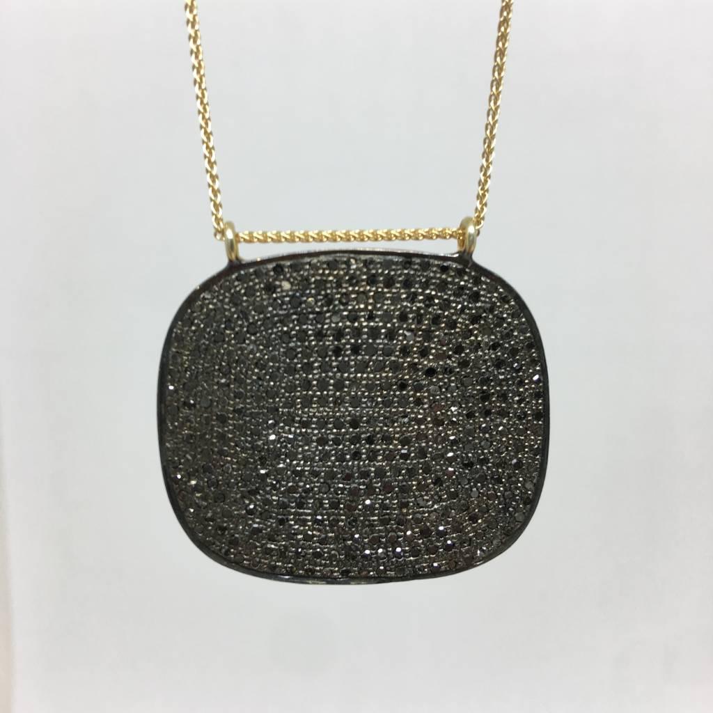 Lera Jewels Pave Sqaure Necklace