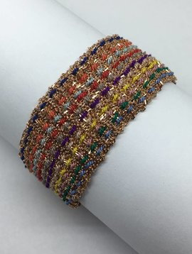 Marie-Laure Chamorel Multi colored Chain and Silk Bracelet