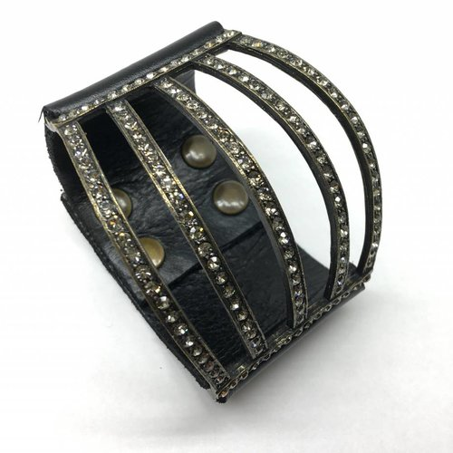 Rebel Design Swarovski Crystal and Leather Cuff