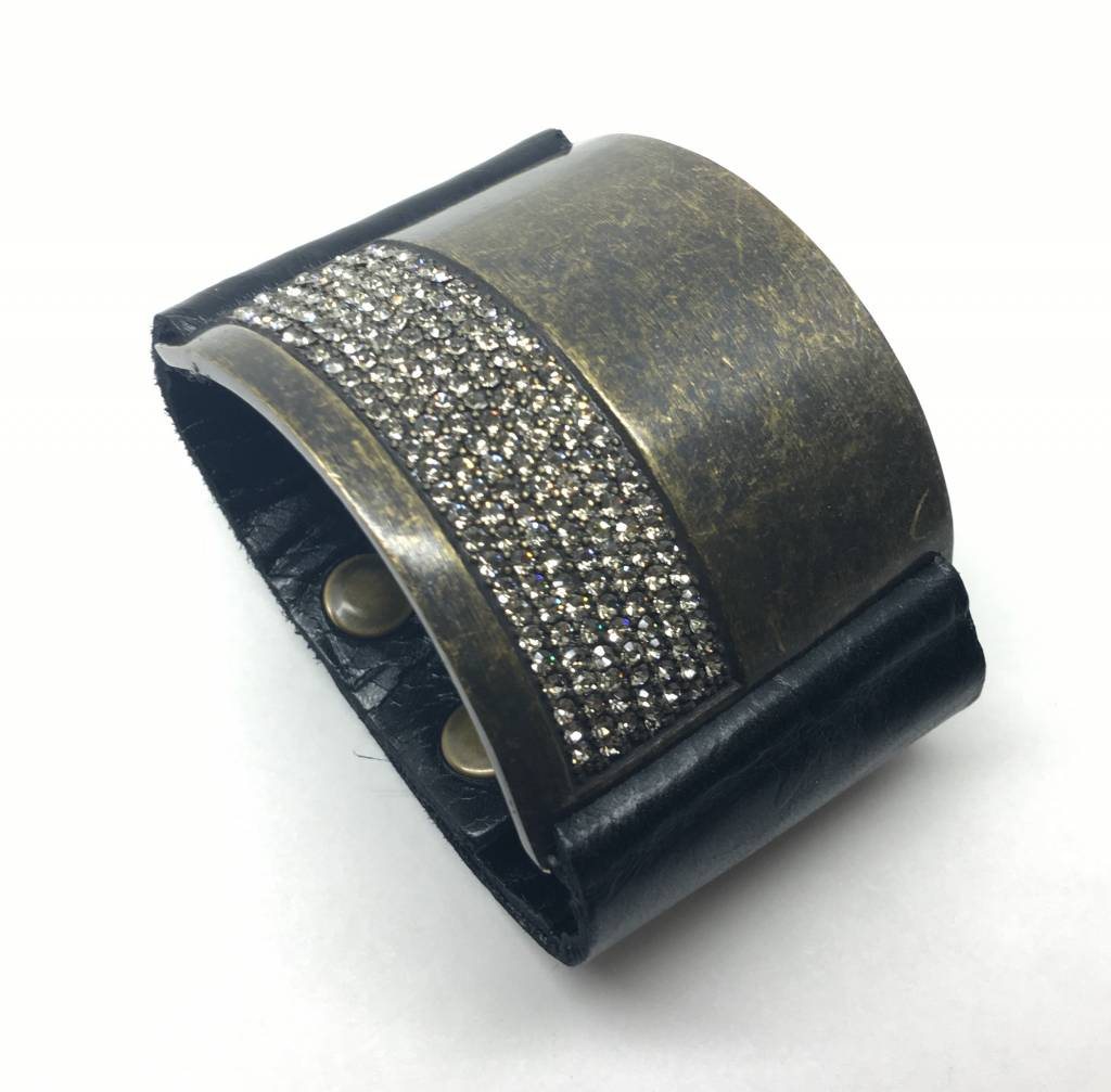 Rebel Design Swarovski Crystal and Black Leather Cuff