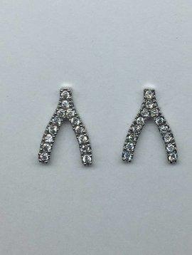 Tai Silver Crystal Wishbone Studs