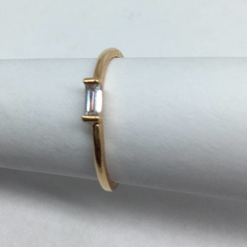 Cloverpost Rose Gold Single Crystal Baguette Stacker Ring