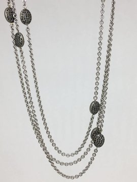 Lera Jewels Chicklet White Gold Necklace