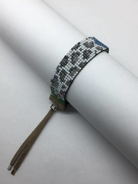 Julie Rofman Handwoven Glass Beaded Bracelet Leopard and Cow