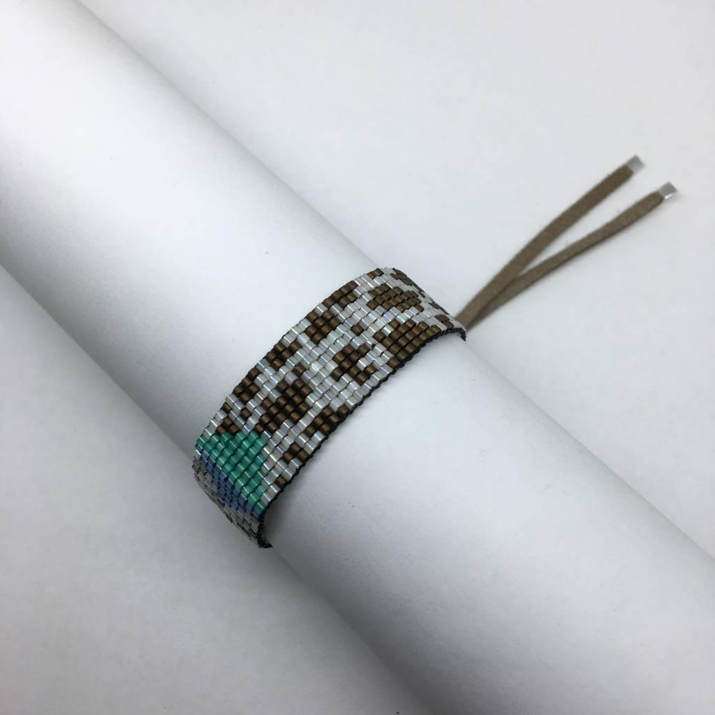 Julie Rofman Handwoven Glass Beaded Bracelet Leopard and Cow