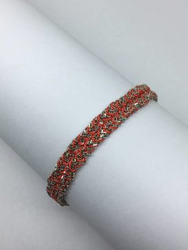 Marie-Laure Chamorel Coral Chain and Silk Bracelet