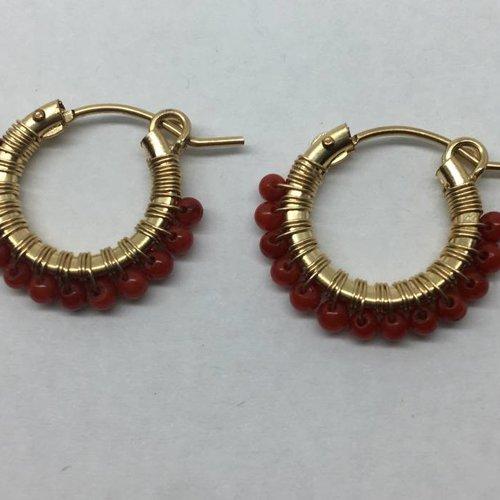 Viv & Ingrid Red Beaded Mini Hoops