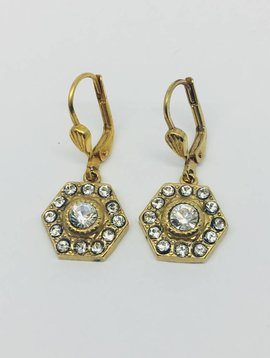 La Vie Parisienne Hexagon Crystal Drop Earring