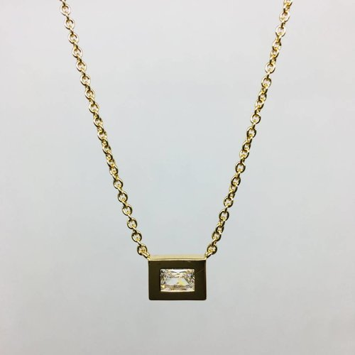 Rachael Ryen Crystal Rectangle Necklace