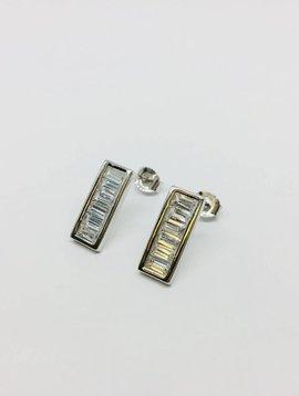 Rachael Ryen Silver Baguette Earrings