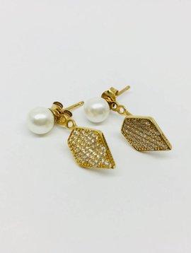 Rachael Ryen Pearl and Pave Jacket Earrings