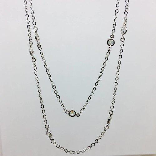Nyla Star Long Crystal Bezel Chain Silver