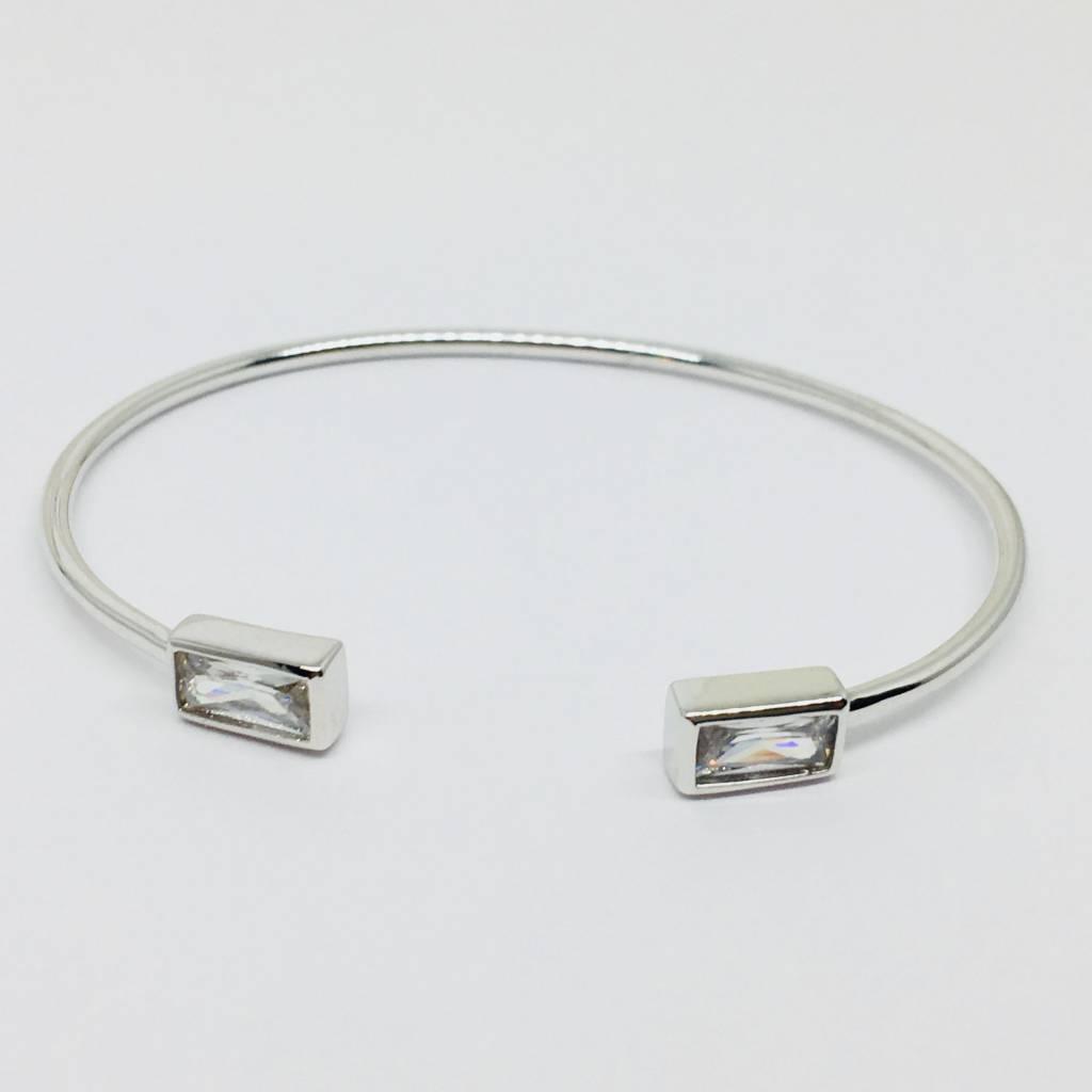 Rachael Ryen Silver Rectangle Crystal Bracelet