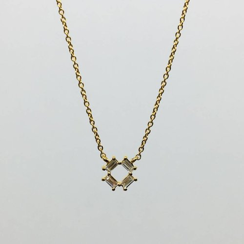 Dana Rebecca Yellow Gold Open Baguette Necklace