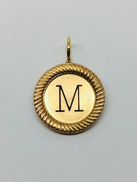 "Heather Moore Gold Framed ""M"" Initial Charm"