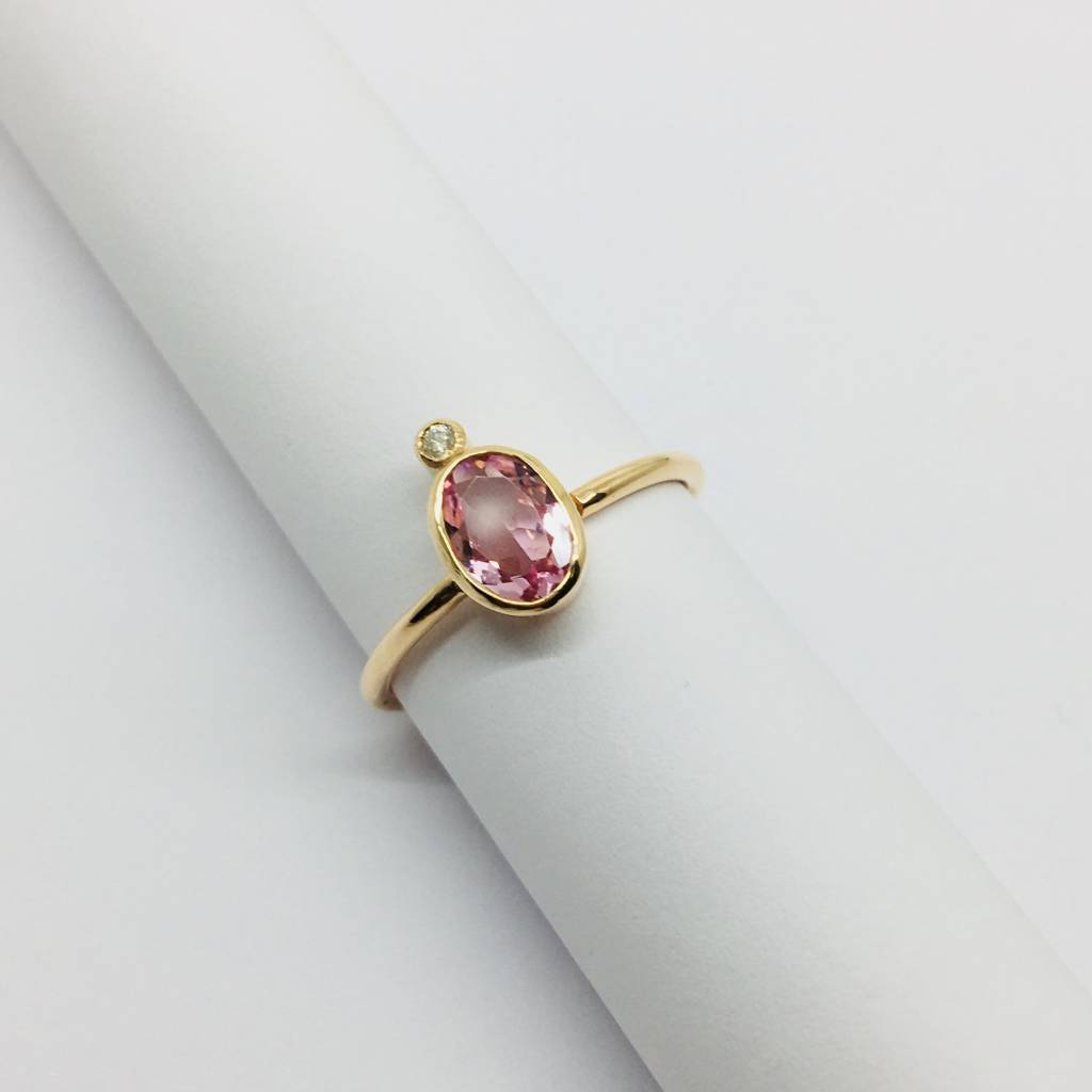 Lotasi Pink Sapphire and Diamond Bezel Ring