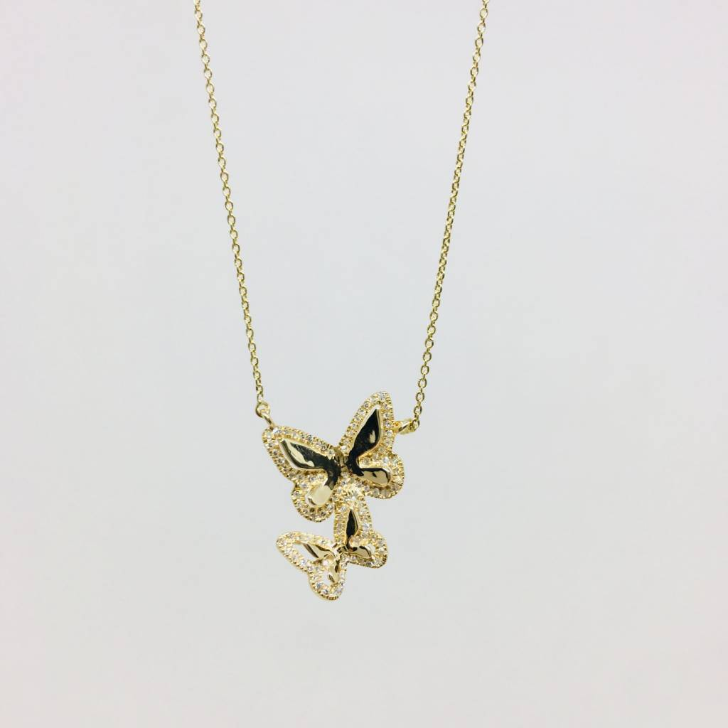 Lotasi Gold and Diamond Butterfly Necklace