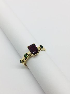 Lotasi Large Multi Tourmaline and Bezel Ring