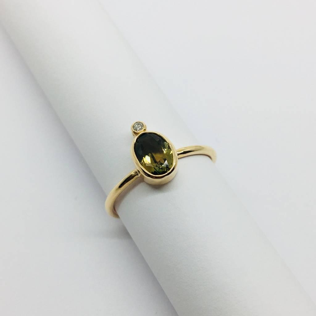 Lotasi Green Sapphire and Diamond Bezel Ring