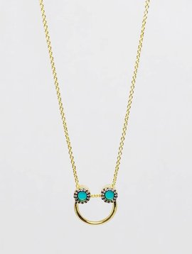 Nyla Star Turquoise Half Hoop Necklace